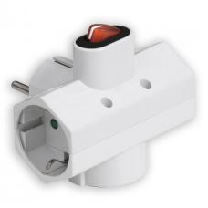 Adaptor Ρεύματος Sonora CPAW301 3 Θέσεων Με Διακόπτη Λευκός