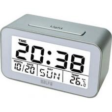 Ρολόι Ψηφιακό-Ξυπνητήρι-Θερμόμετρο Εσωτερικού Χώρου Alfa One ET622A Ασημί-Λευκό