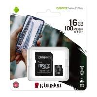 Κάρτα Μνήμης MicroSDCS2 Kingston 16GB Class10 + Adaptor Canvas Select Plus (SDCS2/16GB)