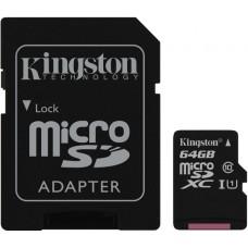Κάρτα Μνήμης MicroSDCS Kingston 64GB Class10 + Adaptor Canvas Select