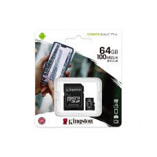 Κάρτα Μνήμης MicroSDCS2 Kingston 64GB Class10 + Adaptor Canvas Select Plus (SDCS2/64GB)