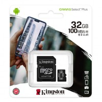 Κάρτα Μνήμης MicroSDCS2 Kingston 32GB Class10 + Adaptor Canvas Select Plus